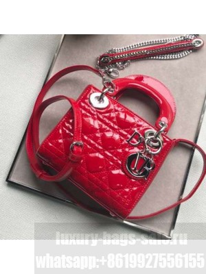 Dior Classic Lady Dior Mini Bag in Patent Leather Bright Red/Silver  Collection