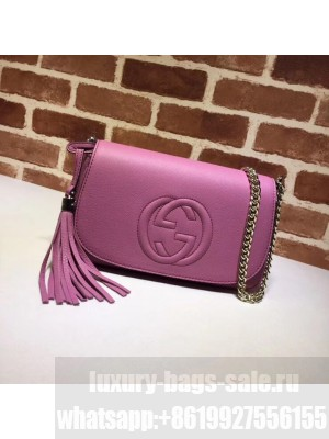 Gucci 336752 Soho Tassel Leather Chain Shoulder Bag Rosy Collection