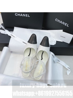 Chanel Vintage Lambskin Chain Slingback Pumps 8cm White 2021 Collection