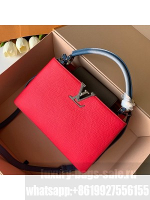 Louis Vuitton Capucines PM Top Handle Bag M52990 Red/Gray/Blue 2019 Collection
