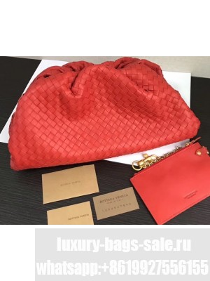 Bottega Veneta The Pouch Clutch Bag In Woven Leather Red 2020