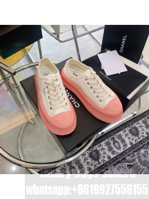 Chanel Canvas 5cm Platform Sneakers Pink 2021 Collection