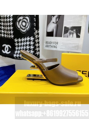 FENDI FIRST Brown leather high-heeled sandals 2021 Collection