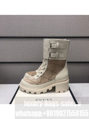 Gucci Women's boot with Interlocking G Gray/White 2021 Collection 05
