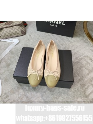 Chanel Ballerina Flats Lambskin Leather Spring/Summer 2021 Collection,Light Nude/Olive
