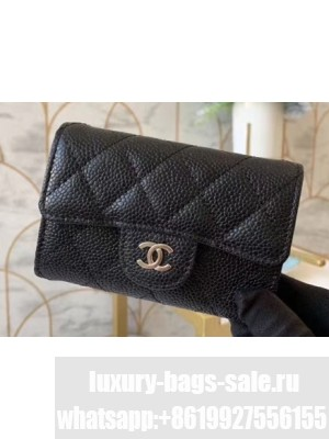 Chanel Classic Small Card Holder AP0214 Grained Calfskin Black/Silver