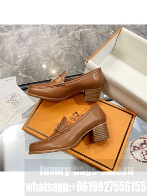"""Hermes High heel loafer signature """"H"""" Brown 2021 Collection"""