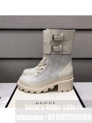 Gucci Women's boot with Interlocking G White 2021 Collection 01