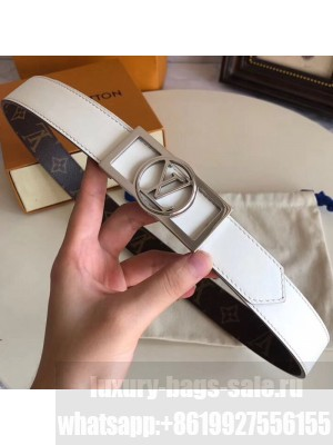 Louis Vuitton Reversible Leather and Monogram Canvas Belt 30mm with Square LV Buckle White 2019 Collection