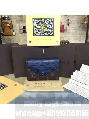 Louis Vuitton Marie Lou Short Wallet Epi and Monogram Leather Canvas Fall/Winter 2016 Collection M60494, Navy Blue