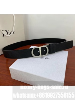 Dior Width 3.5cm Reversible Calfskin Belt With Silver CD Buckle Black 2020 Collection