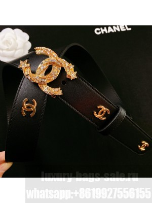 Chanel Calfskin Belt 3cm with Star CC Buckle Black  2021 Collection 01