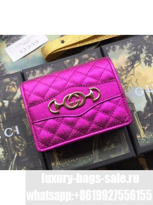 Gucci Laminated Leather Card Case 536353 Pink