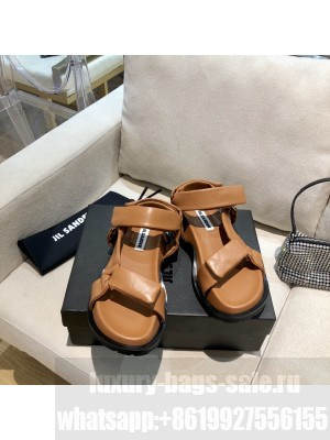 JIL SANDER Outdoor platform sandals with cleated rubber sole Brown 2021 Collection