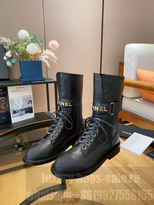 Chanel Calfskin & Satin Lace-up Boot Black 2021 Collection