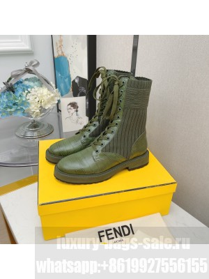 Fendi Rockoko combat boots with stretch fabric inserts 019 Green 2021 Collection