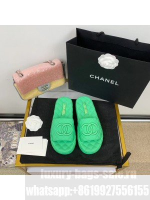 Chanel Quilted Slide On Mule Sandals Lambskin Leather Spring/Summer 2021 Collection,  Green