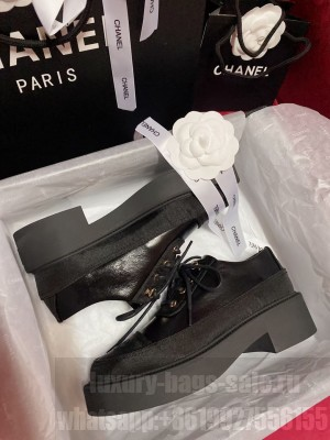 Chanel Women's Lace-Ups Black Calfskin & Satin 2021 Collection