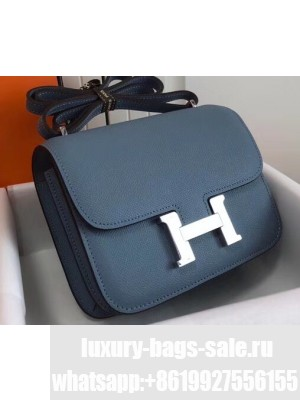Hermes Constance Mini/MM Bag in Epsom Leather Midnight Blue with Silver Hardware