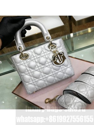 Dior Small Lady Dior Bag in Metallic Grained Calfskin Silver  2021 Collection