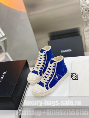CHANEL VINTAGE CANVAS HIGH-TOP SNEAKERS BLUE Spring/Summer 2021 Collection