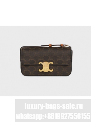 Celine TRIOMPHE SHOULDER BAG IN TRIOMPHE CANVAS AND CALFKSIN 194142 TAN