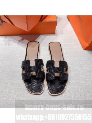 Hermes Oran Flat slippers with Lizard pattern Black 069 2021 Collection