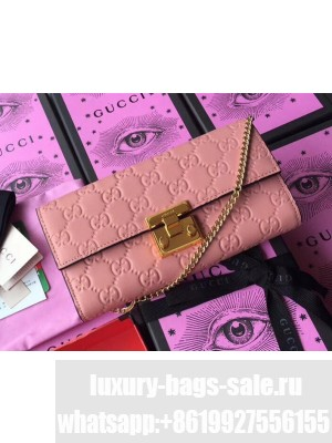 Gucci Padlock GG Signature Leather Continental Chain Wallet 453506 Pink