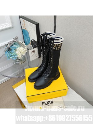 FENDI ROCKOKO Black leather Lace-up high boots with stretch fabric 03 2021 Collection