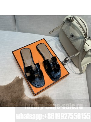 Hermes Oran Flat slippers with Stone pattern Black 076 2021 Collection