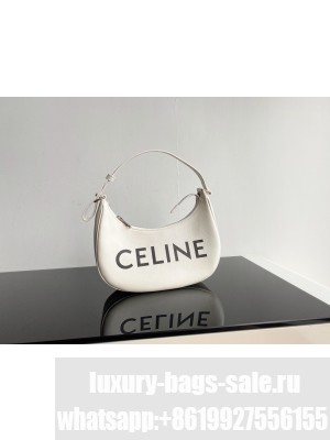 Celine AVA BAG IN TRIOMPHE CANVAS AND CALFSKIN 193952 WHITE