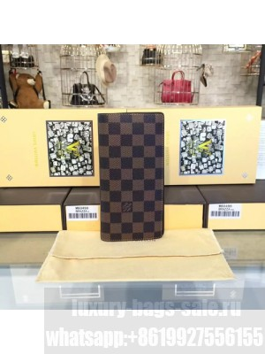 Louis Vuitton Brazza Wallet Damier Ebene Leather Canvas Fall/Winter 2016 Collection N60017