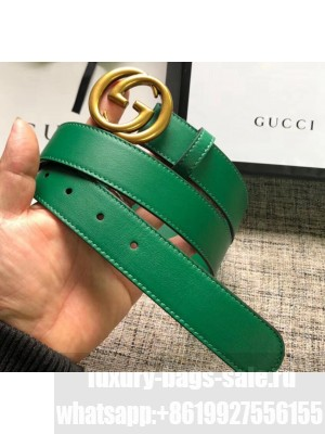 Gucci Calfskin Belt 30mm with GG Buckle Green/Gold 2020 Collection