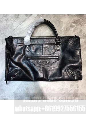 Balenciaga Classic Large City Bag in Waxed Leather and Silver Hardware Black Collection