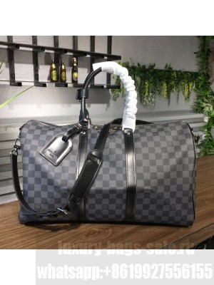 Louis Vuitton Keepall 45 Bandouliere Duffle Bag Damier Graphite Canvas Fall/Winter 2017 Collection N41418, Graphite