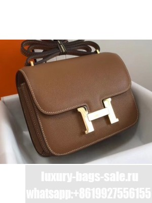 Hermes Constance Mini/MM Bag in Epsom Leather Brown with Gold Hardware