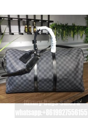 Louis Vuitton Keepall 55 Bandouliere Duffle Bag Damier Graphite Canvas Fall/Winter 2017 Collection N41413, Graphite
