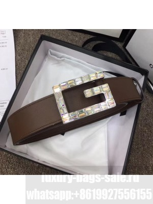 Gucci Width 3.5cm Leather Belt with Crystal Square G Buckle Coffee 2020 Collection