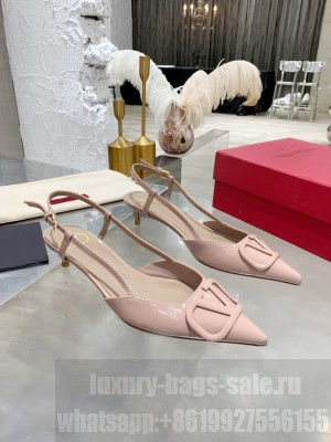 VALENTINO VLOGO SIGNATURE PATENT LEATHER SLINGBACK PUMP 40MM NUDE 2021 Collection