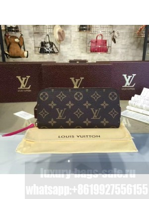 Louis Vuitton Clemence Wallet Monogram Leather Fall/Winter 2016 Collection M42119, Hot Pink