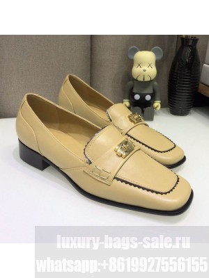 Chanel Contarsting Trim Lambskin Loafers Beige Spring/Summer 2021 Collection