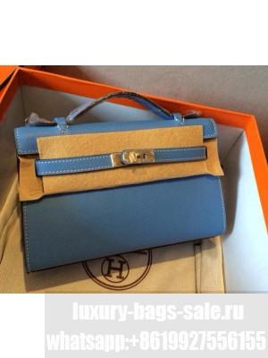 HERMES KELLY 22 EPSOM LEATHER CLUTCH BAG IN Coral Blue