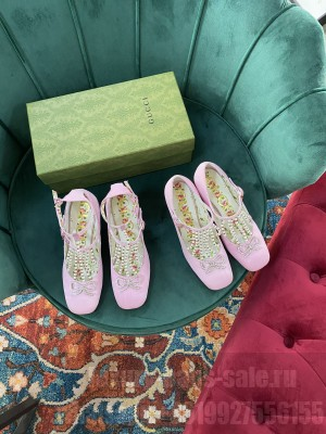 Gucci Pink Canvas With Swarovski 65mm Pumps 2021 Collection
