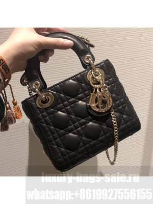 Lady Dior Mini Bag in Cannage with Chain Black/Gold