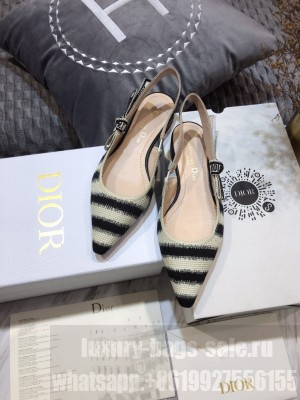 Dior J'Adior Slingback Ballerina Flat in Blue D-Stripes Embroidery 2021 Collection