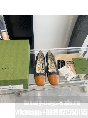 Gucci ballet flat with Interlocking G Danim with Brown Leather tip 2021 Collection
