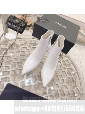 Chanel Sheepskin Pointed Wedge Ankle Boot White 2021 Collection