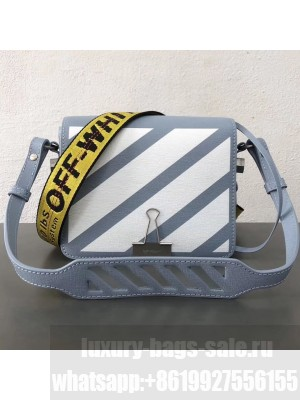Off-White Light Blue Calfskin Binder Clip Flap Bag With White Diagonals 2018 Collection