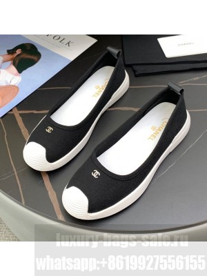 Chanel Canvas Flat Loafers Shoes Black Spring/Summer 2021 Collection