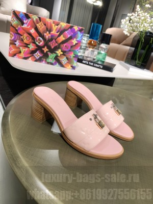 Louis Vuitton Lock It Mule Slide Sandals 55mm Pink Patent leather 2021 Collection